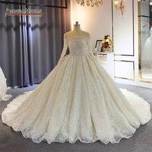 웨딩 드레스 2020 신부 럭셔리 전체 구슬 웨딩 드레스 실제 작업 사진