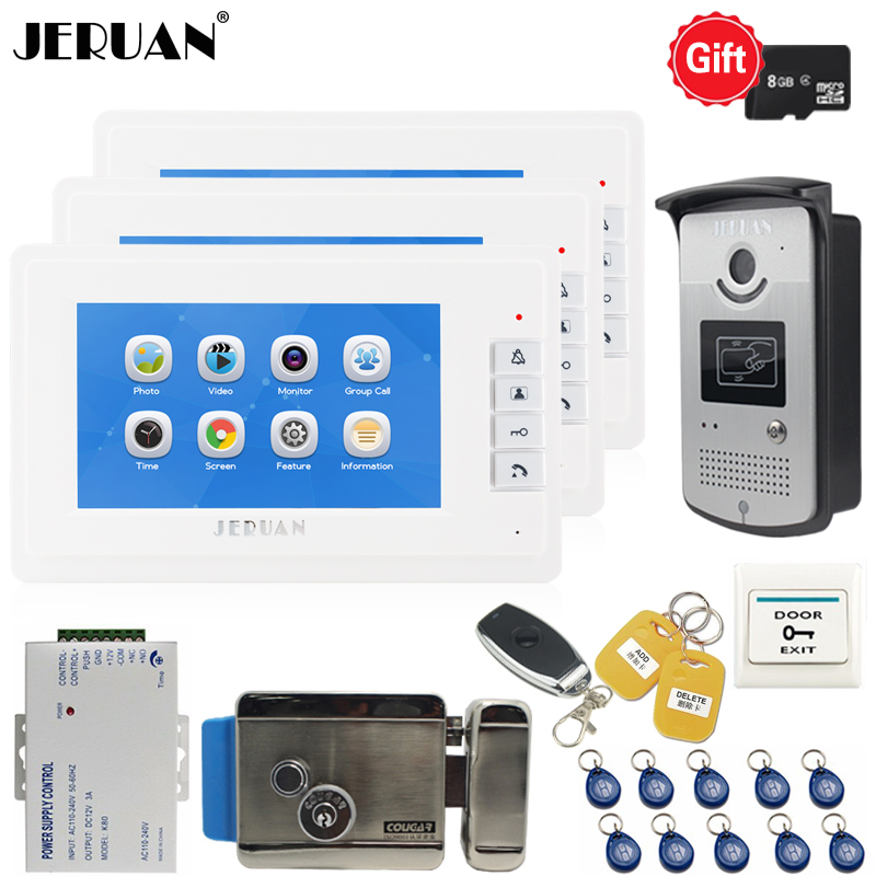 JERUAN Video Door phone Doorbell Voice/Video Recording Intercom system kit With 7 INCH LCD SCREEN + RFID Access Camera + E-lockJERUAN Video Door phone Doorbell Voice/Video Recording Intercom system kit With 7 INCH LCD SCREEN + RFID Access Camera + E-lock