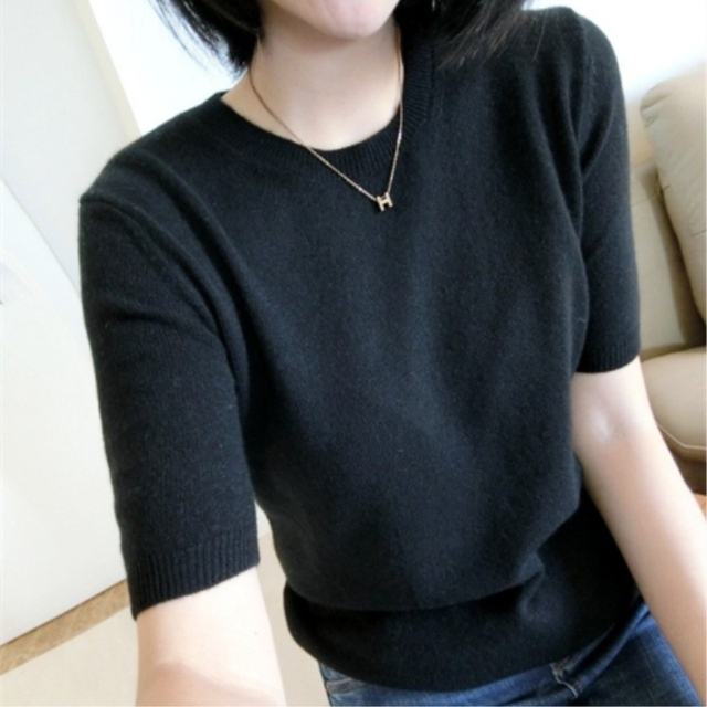 Spring Autumn Solid Big Cashmere Wool Sweater Short Sleeve O-neck Pullovers Jumper Computer Knitted Oversize Sweaters