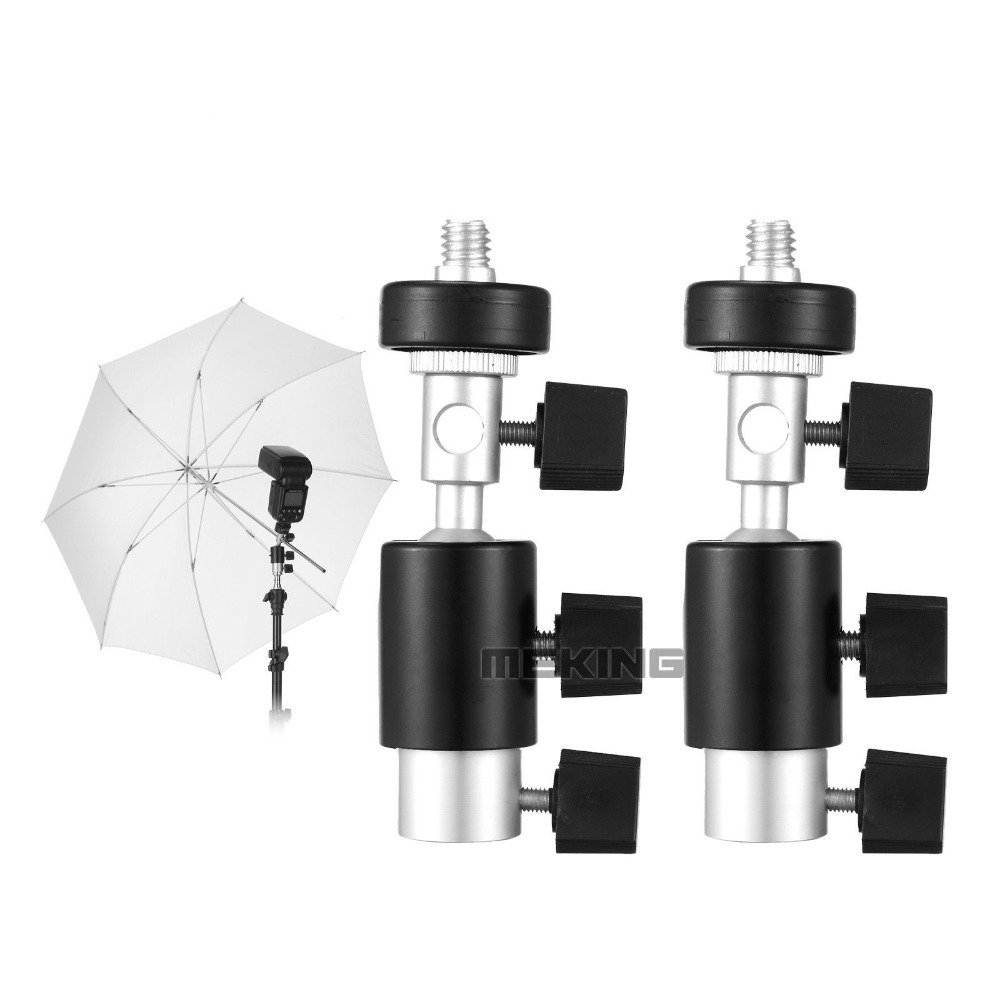 2pcs Meking Flash Bracket C Type with Swivel Ball head Umbrella Holder 1/4 3/8 Light Stand Adapter for Speedlite Studio
