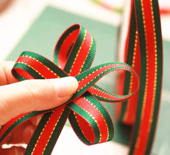 CHEAP@@ 7/8Inch 1inch 2inch Red and green striped gold christmas decoration Polyester jacaquard <font><b>ribbon</b></font> lace trim Gift wrapping image