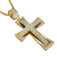 Iced Out Cross Double Layers Stainless Steel Necklace Full Micro Rhinestones Paving Crucifix Pendants Necklaces Religion Jewelry