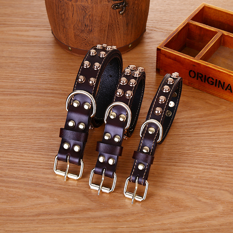 Cowhide Collar Pet Products For Large Dog Leash Harness Dogs Bulldog Chihuahua Puppy Pitbull Pet Accessories Lead Leash Collars