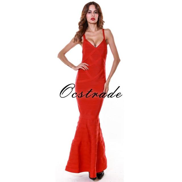Elegante Lungo Vestiti Dalla Fasciatura 2016 Nuovi Arrivi Sirena del  Vestito Dalla Fasciatura Rayon Vestito Rosso 9513b994c3e