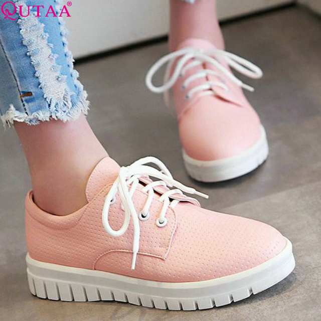 QUTAA 2017 Western Style PU leather White Ladies Shoes Low Heel Woman Pump Lace Up Round Toe Women Casual Shoes Size 34-43
