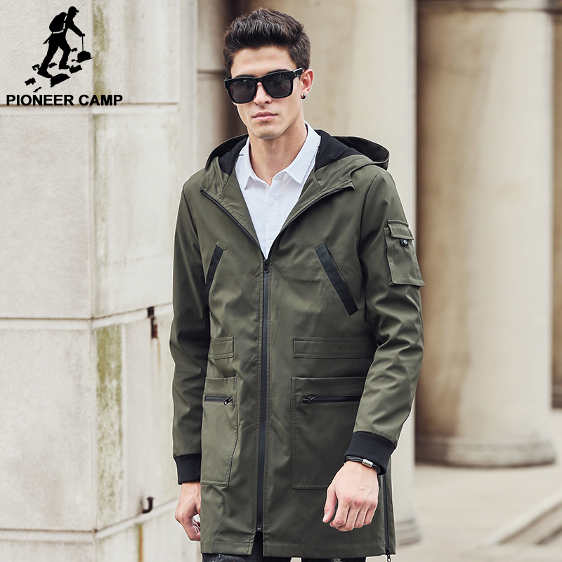 Pioneer Camp 2017 new trench coat men brand clothing Top Quality male long army green trench