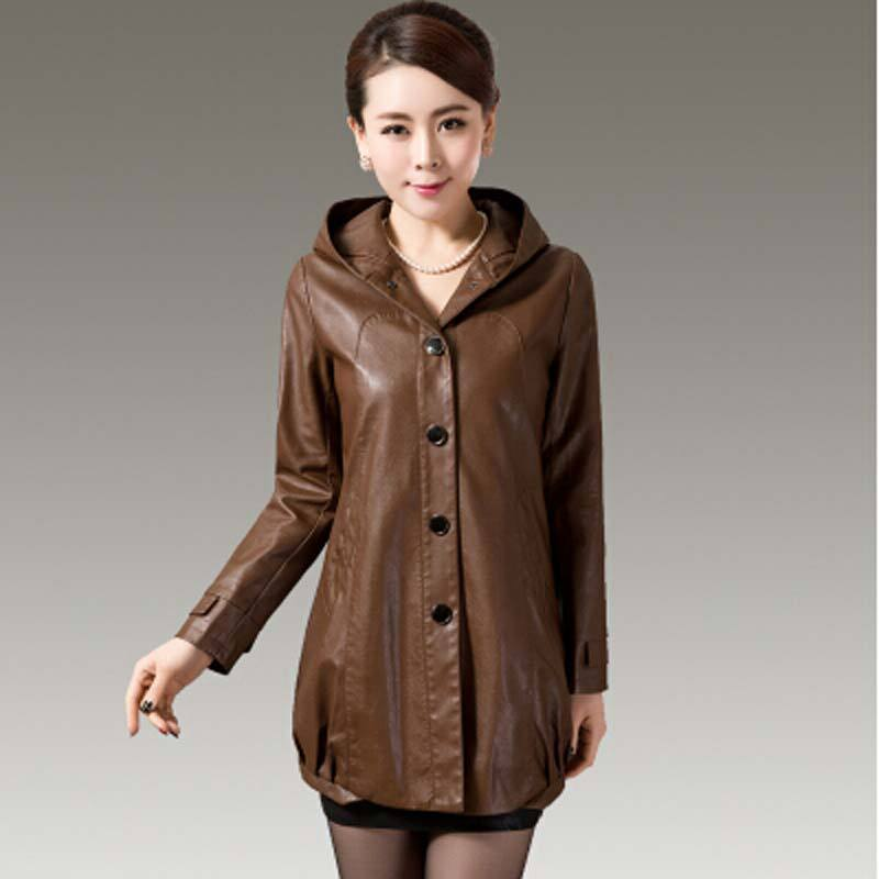 L 5XL plus size Leather coats women jacket coat long new 2016 autumn ladies  jackets Hooded leather jacket women outerwear AE545-in Leather   Suede from  ... fc65d2151e69