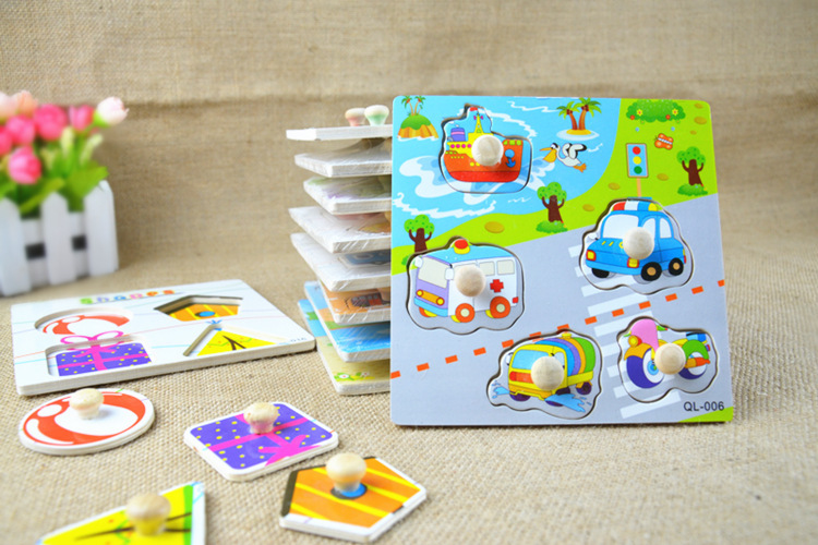 5pcs wooden Jigsaw puzzle cartoon Vehicle Geometry assembly puzzles for kids and children educational toys Free shipping