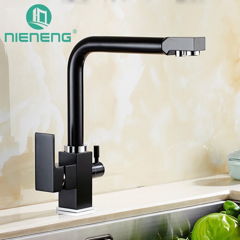 nieneng kitchen faucet mixer black sink tap kitchen appliances tools brass faucet basin taps water mixers accessories icd60363 - Contemporary Kitchen Appliances
