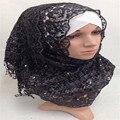 Té de la burbuja de Las Mujeres Abaya Islámico Musulmán Nuevo Algodón Lentejuelas Borla Larga Bufanda de Moda Hijab 60*160 CM