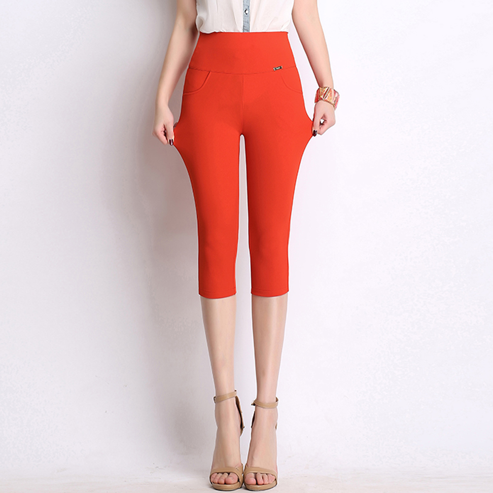 summer high waist women pencil   pants     capris   high stretch skinny outwear leggings plus size 5XL 6XL calf-length   pants   trousers