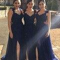 Dark Navy V Neck Appliqued Beaded Sleeveless Thigh Chiffon Bridesmaid Dresses