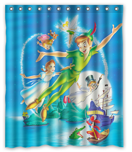 Flying Anime Peter Pan Customized Modern Bath Waterproof 150x180cm Shower Curtain Bathroom Products Curtains