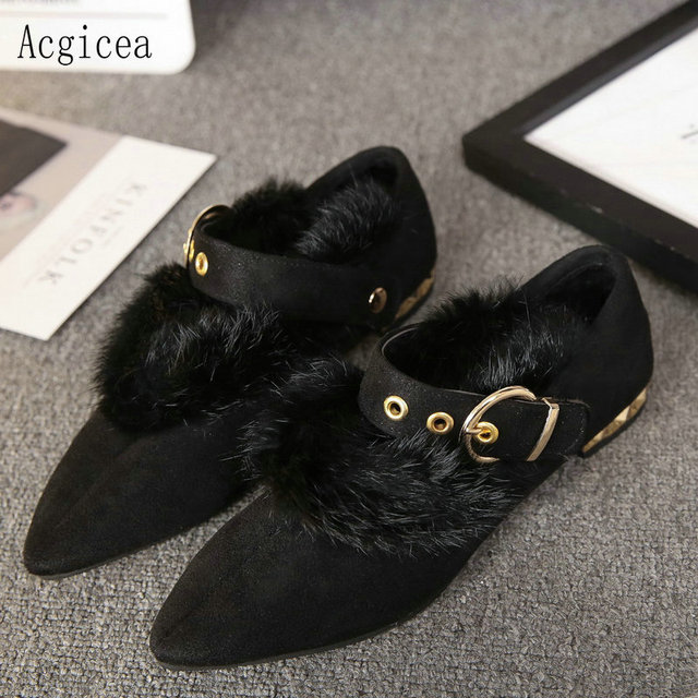 6268aca5d8c40 2017 New Brand Europe Style Women Shoe Spring Autumn Concise Buckle Shoes  Woman Dress Cute Metal Outdoor Low Heels Ladies Flats
