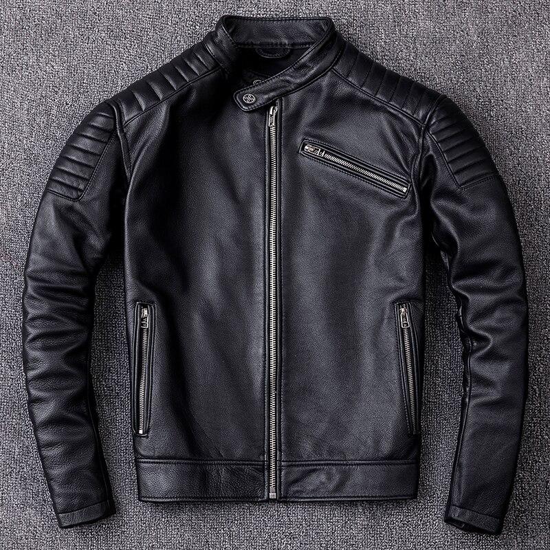 HARLEY QUETSCHE Noir Hommes En Cuir Moto Veste Plus La Taille XXXL Hiver Slim Fit Court Véritable de Vache Biker En Cuir de Manteau
