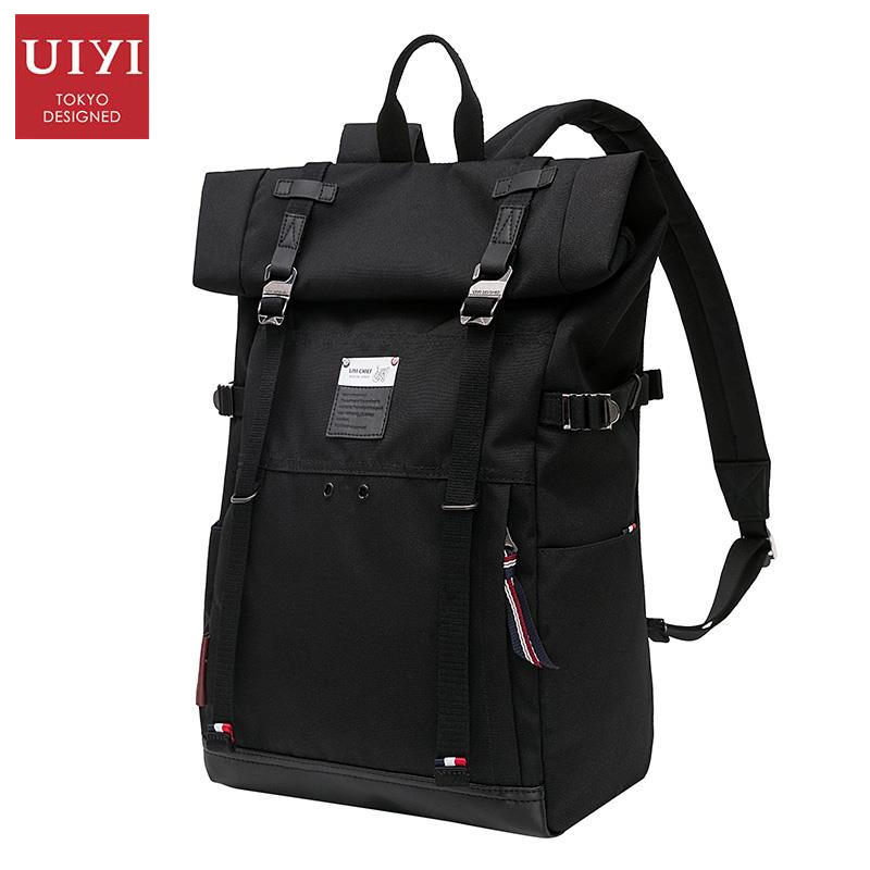 UIYI Black School Backpack Male Leather Polyester Patchwork Vintage Laptop Backpacks Rucksack Bag Covers Shoulder Bags 160102