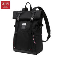 UIYI Black Backpack Men Leather Polyester Patchwork Vintage Laptop Backpacks Rucksack School Bag Covers Shoulder