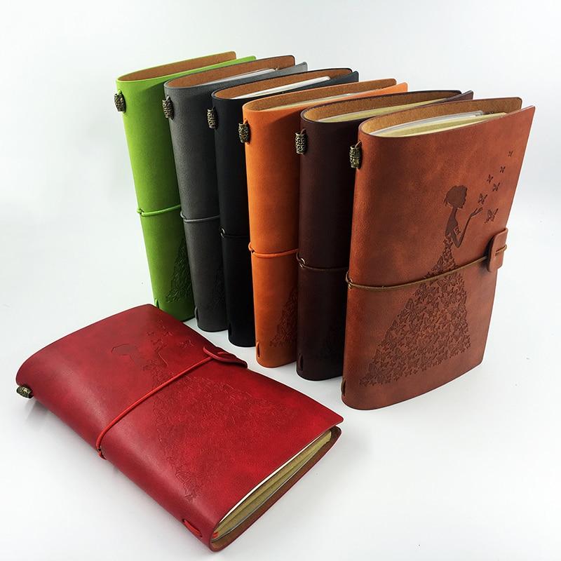 RuiZe rankų darbo odos žurnalai tuščius puslapius keliautojas - Bloknotai ir užrašų knygelės