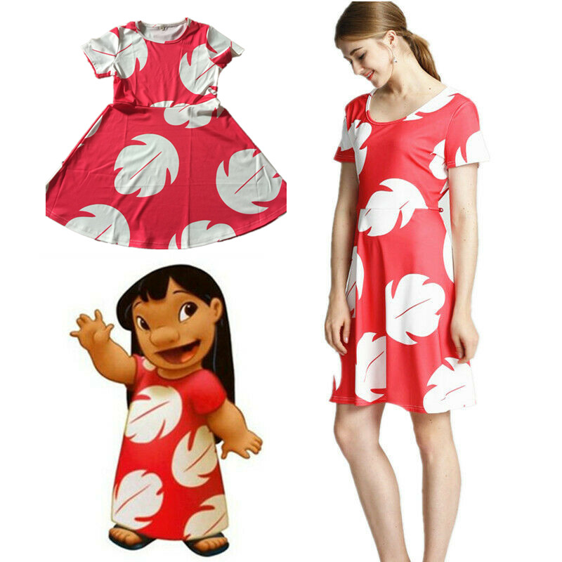 WXCTEAM Lilo And Stitch Dress Women Kid Girls Matching Halloween Cosplay Costume Leaf Onepiece Party Dress US STOCK Dropping