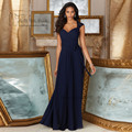 2017 Champagne Azul Marinho Da Dama de honra Vestidos Longos De Renda Vestidos de Festa de Casamento Chiffon Vestido de Madrinha Robe demoiselle d'honneur