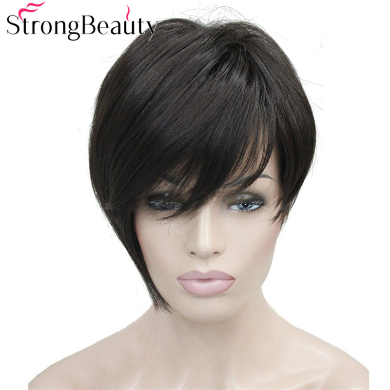 StrongBeauty Asymmetric In Clip Bangs Short Straight Bob Natural Synthetic Capless Wig For Women