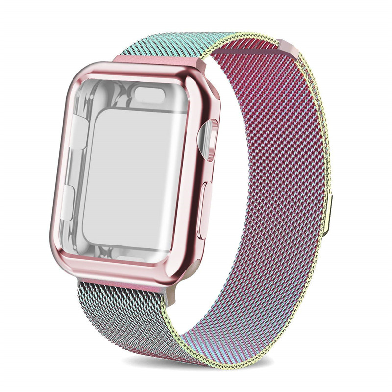 Colorful Milanese Loop band with case For Apple Watch Series 3/2/1 38mm 42mm Stainless Steel Strap Wrist Bracelet for iwatch stainless steel milanese loop band for iwatch strap 42mm 38mm for apple watch band series 3 2 1