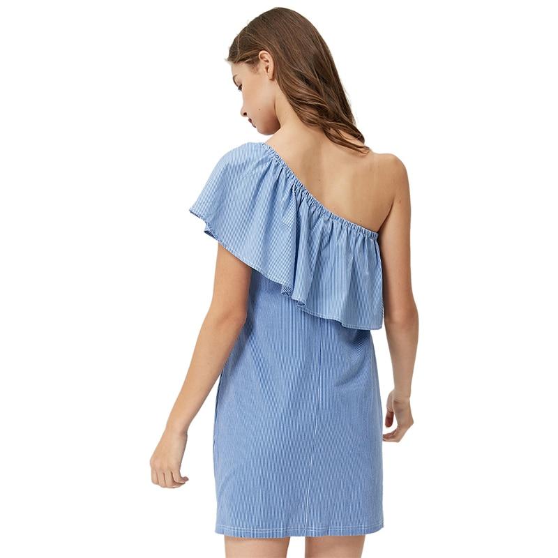 GLO-STORY Sommerblå stribe Mini kjole 2018 Kvinder Asymmetrica One - Dametøj - Foto 2