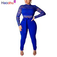Blue Lace Patchwork Sexy Jumpsuit For Women Mock Neck Long Sleeve Skinny Long Romper Elegant Cut Out Sashes See Through Bodysuit