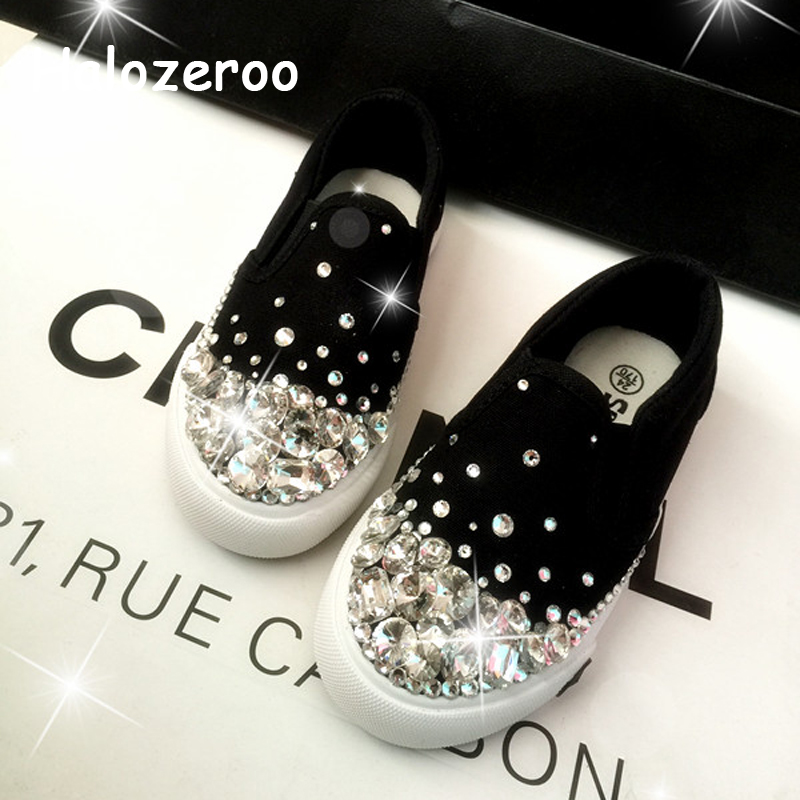 New 2019 Autumn Kids Casual Sneakers Baby Girls Rhinestone Canvas Shoes Toddler Slip On Sneakers Children Sport Sneakers Trainer