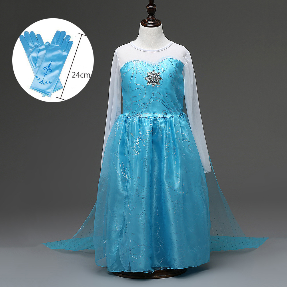 Cheap Halloween Costumes for Kid Toddlers Girl Dress Party Blue Long Sleeve Mesh Girls Queen Elsa Dress with Cape