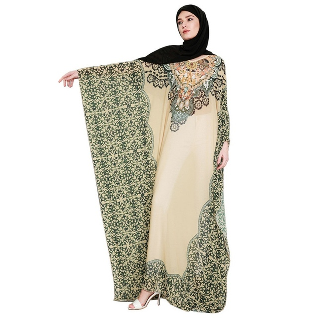 b4b98ee4bc3c Cozy Folk-Custom Print Female Chiffon Abaya Muslim Fashion High Quality Full  Sleeves Muslim Long Dress Elegant Arabic Dress