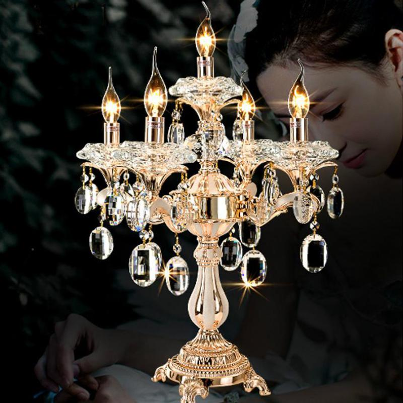 5 arm gold crystal candle holders led table lamp for