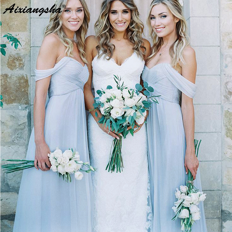 Light Sky Blue Chiffon Long   Bridesmaid     Dresses   2019 Cheap A-Line Off the Shoulder Floor Length Boho vestidos de fiesta de noche
