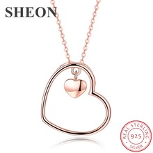 SHEON Trendy 925 sterling silver Heart Necklaces & Pendants Simple Rose Gold Color Sterling Silver Jewelry For Couple and Lover