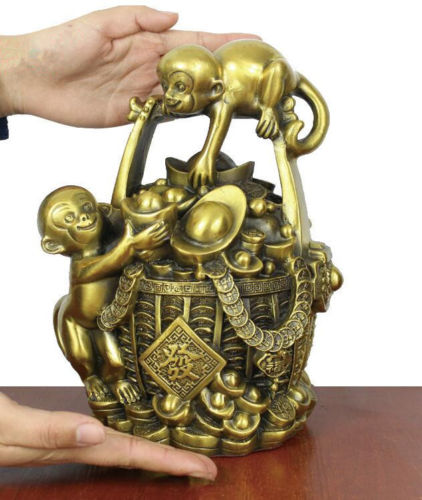 China FengShui Brass Wealth Monkey Family Money Basket YuanBao StatueChina FengShui Brass Wealth Monkey Family Money Basket YuanBao Statue