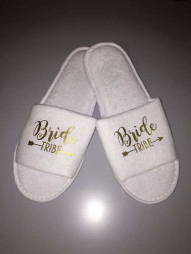 4a085f74586c15 customize Wedding Bridesmaid maid of honor gold Bride Slippers Hens Night  Bachelorette Spa Slippers party favors