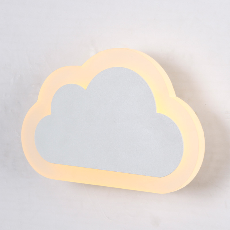 Modern Children Cloud Wall Lamp Led Bedroom Bedside Sconce Acrylic Lampshade White Painting Iron Home Indoor Lighting 110-220V modern t shirt led wall lamp mounted light bedroom bedside sconce acrylic lampshade white painting indoor home lighting