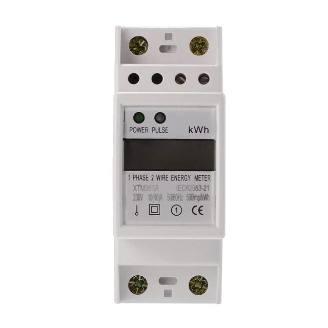 XTM35SA numérique LCD 50Hz 10 (40) A 230 V compteur d'énergie 2 P monophasé DIN Rail Kilowatt heure électricité KWH puissance AD054