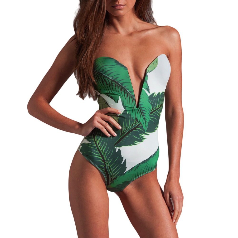 One-piece Swimsuit Women Floral V-Neck Bikini Push Up Bathing Swimwear Padded Women Swimsuit Leaves Print Beachwear Bikinis ноутбук hp notebook 15 ay551ur