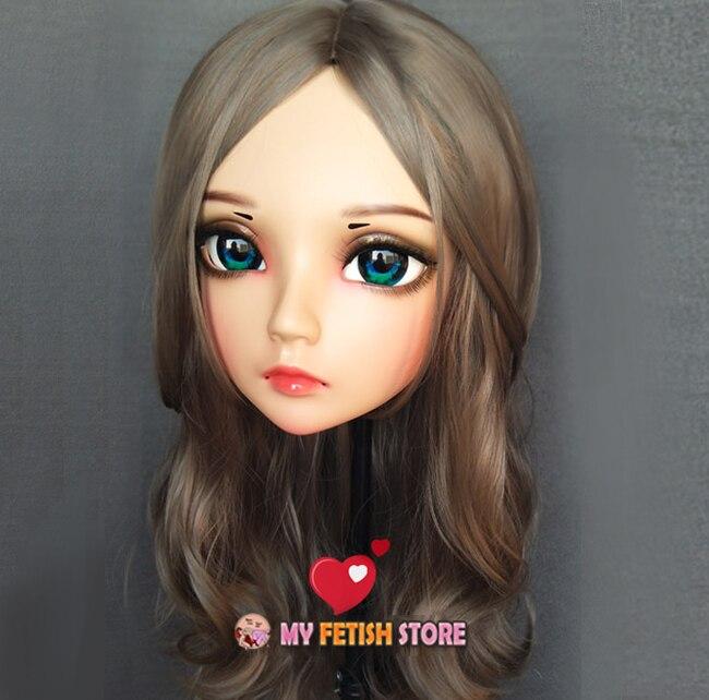 zhu-01 female Sweet Girl Resin Half Head Kigurumi Bjd Mask Cosplay Japanese Anime Role Lolita Mask Crossdress Doll Mask Moderate Cost Helpful