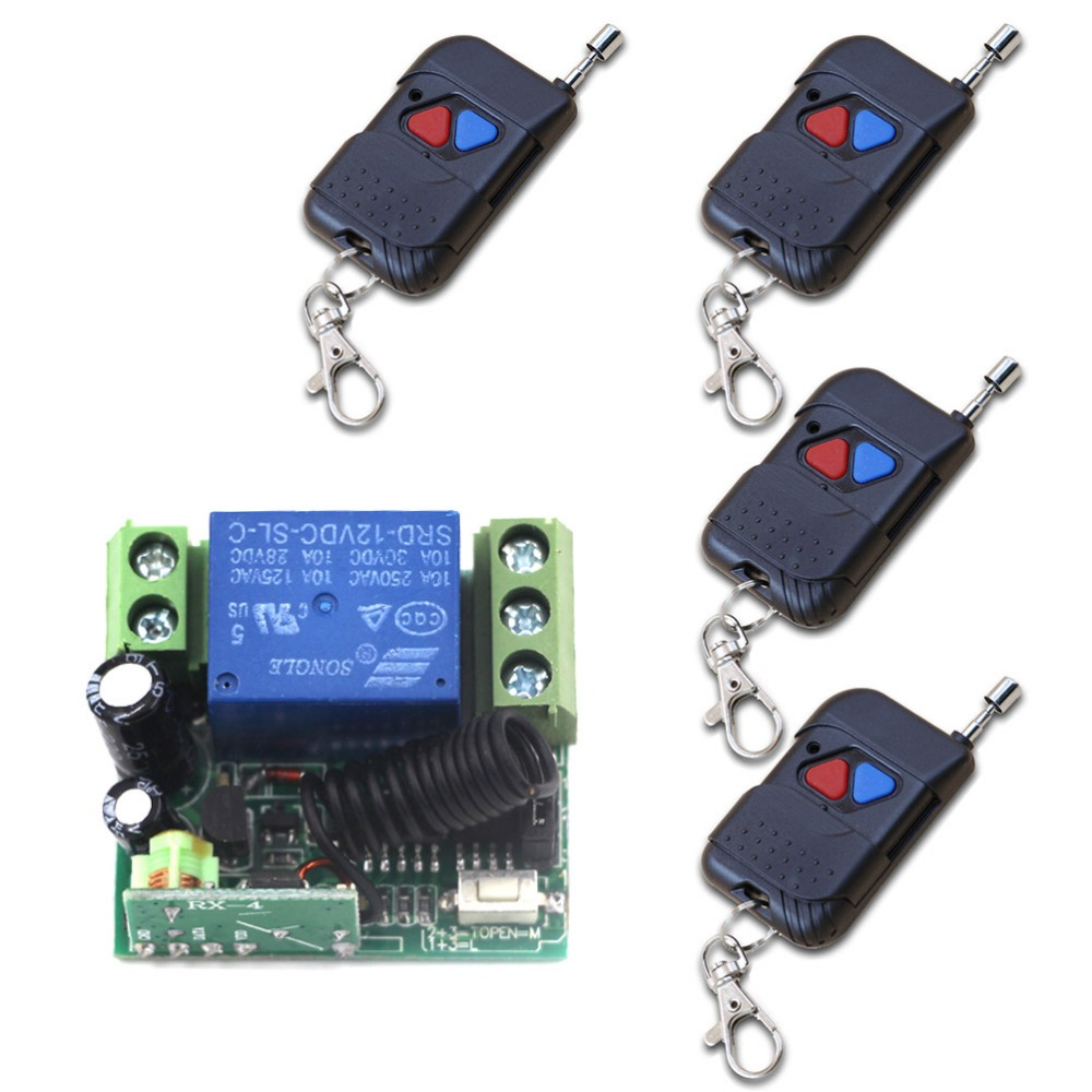 DC 12V 1CH Channel Wireless RF Remote Control Switch 4 Transmitter+1 Receiver with Case Mini Sizes 315/433mhz