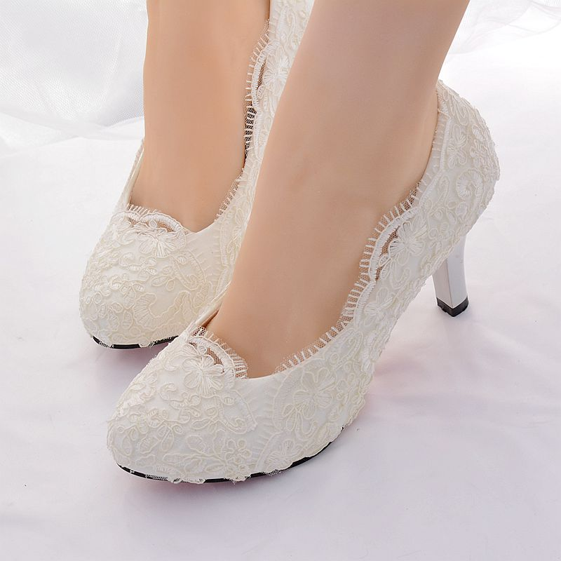Ivory Lace Wedding Shoes Bride Ladies Womens HS386 Fashion