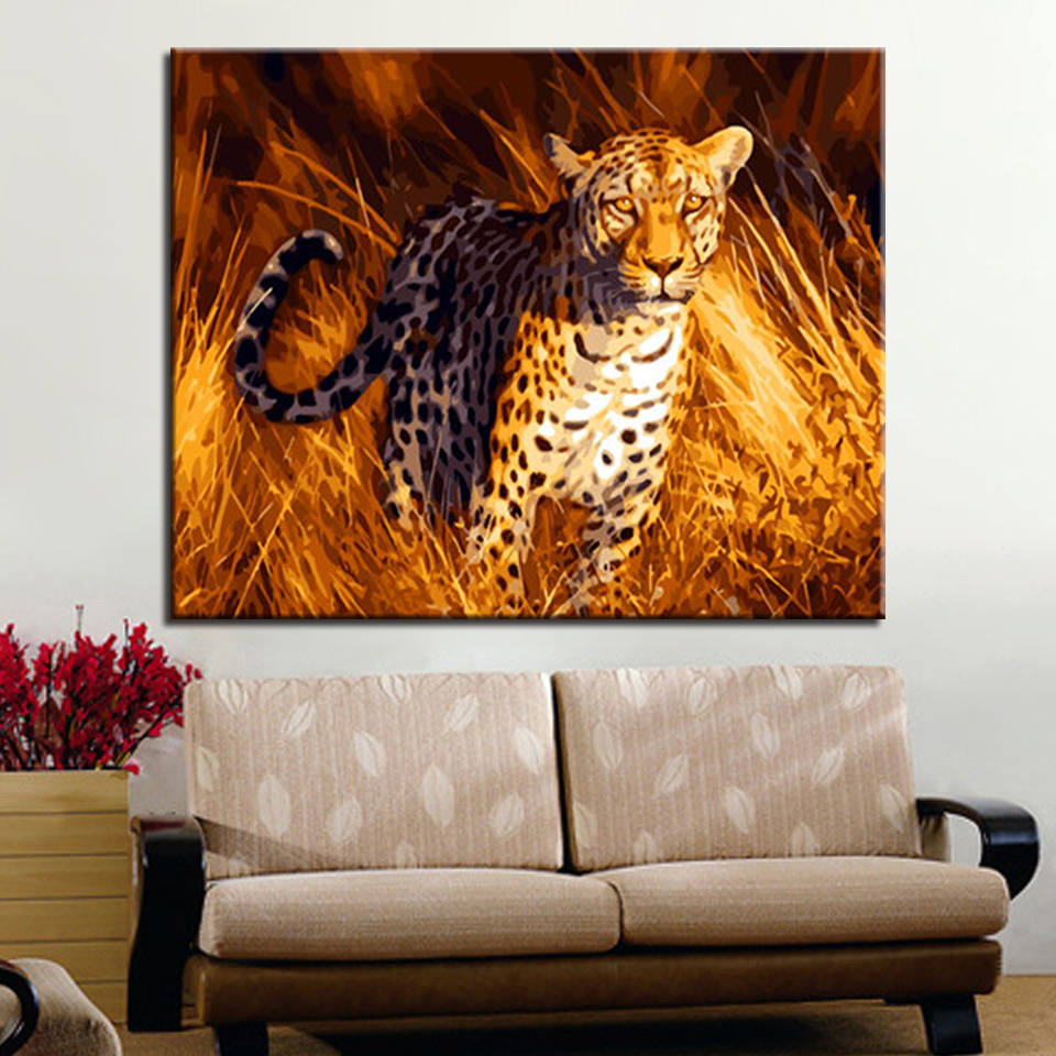Running Leopard DIY Digit Painting By Numbers Wall Art Acrylic Oil Pictures Kits Handpainted Coloring Home Decor For Living Room