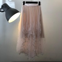 2019 Женская мода сплошной цвет блесток сетки Женская юбка 0328