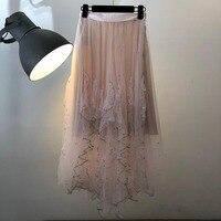 2019 Женская модная однотонная сетчатая юбка с блестками 0328