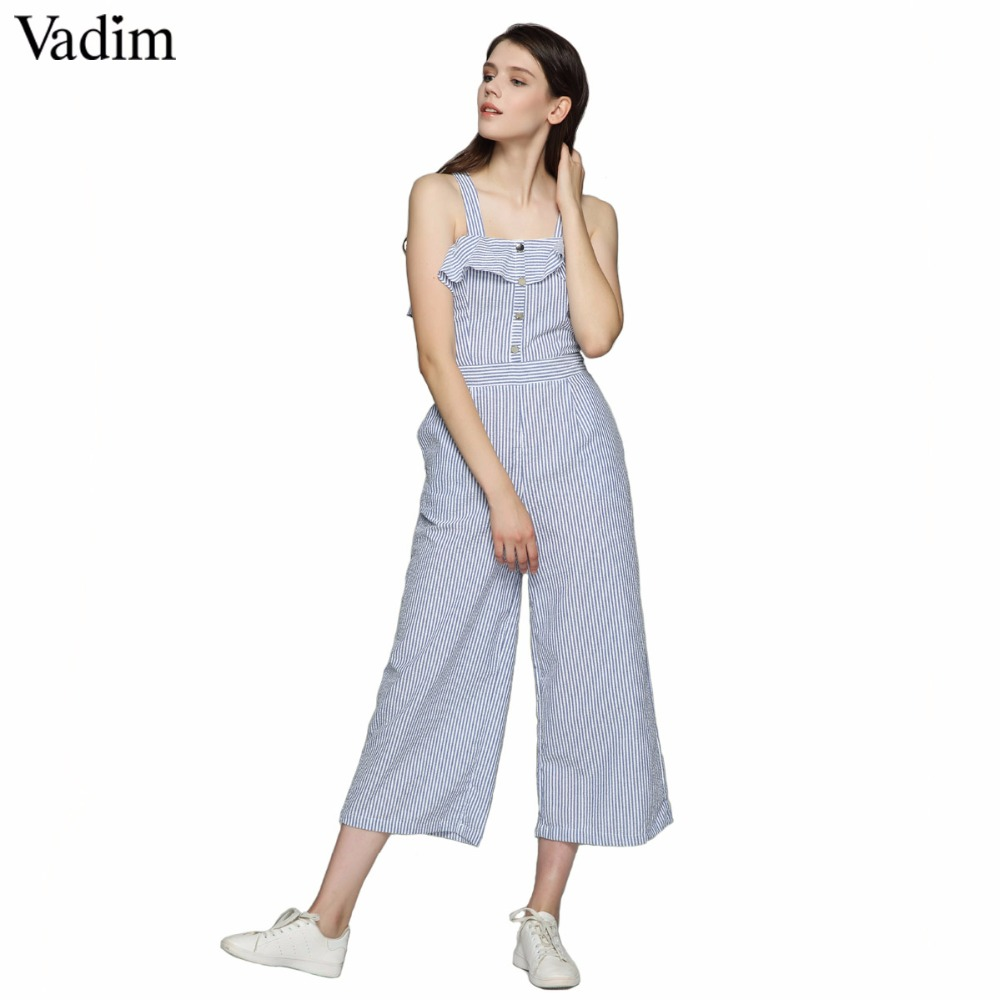 Vadim Women Elegant Ruffles Striped Jumpsuits Button Straps Wide Leg Rompers Ladies Summer Casual Outwear Playsuits Kz1019 Women's Clothing