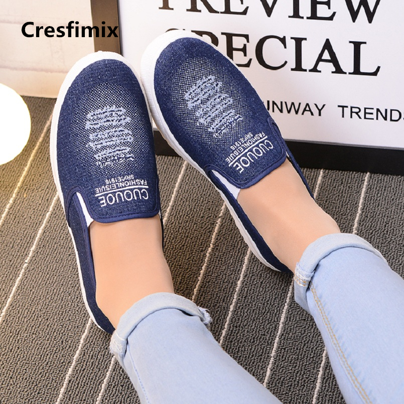 Cresfimix Chaussures De Dame Women Fashion High Quality Denim Flat Shoes Female Cool Summer Loafers Lady Comfy Shoes A862