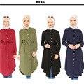 2016 manera de la alta calidad El Islamismo top camiseta de la muchacha ocasional de la gasa camisa de manga larga blusas tops tallas grandes para las mujeres musulmanas ropa