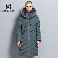 SpiritMoon 2017 Hooded Long Coat Women Clothes Winter Down Jacket Thickening Down Parka With Silver Fox