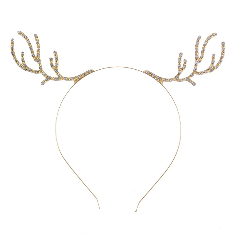 New Fashion Rhinestone Antlers Gold Color Hairbands for Women Girl Crown Tiara Headband Hollow Hair Jewelry Hair Accessories